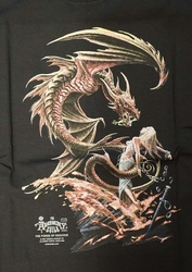 "T-shirt  "" Dragon with lady ""  zwart"