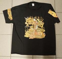 """T-shirt  """" Leeuw met chinese vrouw  """"  Zwart"""