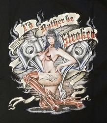 """T-shirt  """" Meid met motorblok """"  zwart"""