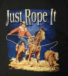 "T-shirt  "" Just rope it  ""  Zwart"
