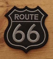 """Applicatie   """" Route 66 """"  zwart / grijs"""