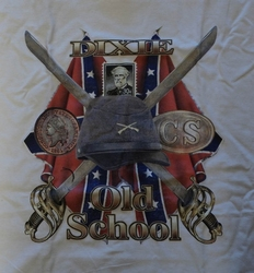 """T-shirt  """" Dixie old school """"  wit"""