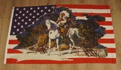 Amerikaanse vlag, indiaan op paard
